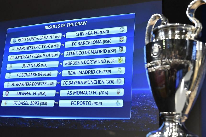 A board shows the draw for the Uefa Champions League round of 16 next to the trophy on Dec 15, 2015 at the Uefa headquarters in Nyon. -- PHOTO: AFP