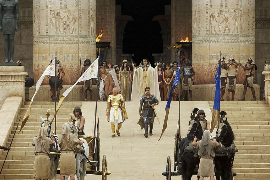 The biblical epic recounting Moses freeing the Jewish slaves from Egypt, Exodus: Gods and Kings, ruled the North American box office over the weekend. -- PHOTO: 20TH CENTURY FOX