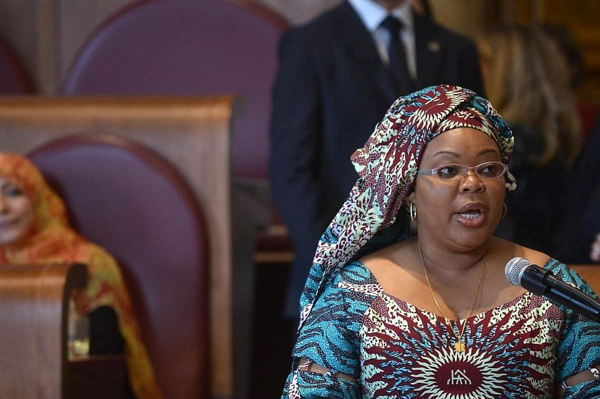 Leymah Gbowee, Liberian peace activist, delivers a speech during the award ceremony of the 14th World Summit of Nobel Peace Laureates on Sunday at Rome's City Hall. -- PHOTO: AFP