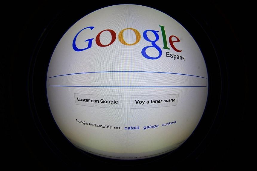 A photo of the Google Spain home page in Madrid on Dec 11, 2014. -- PHOTO: AFP