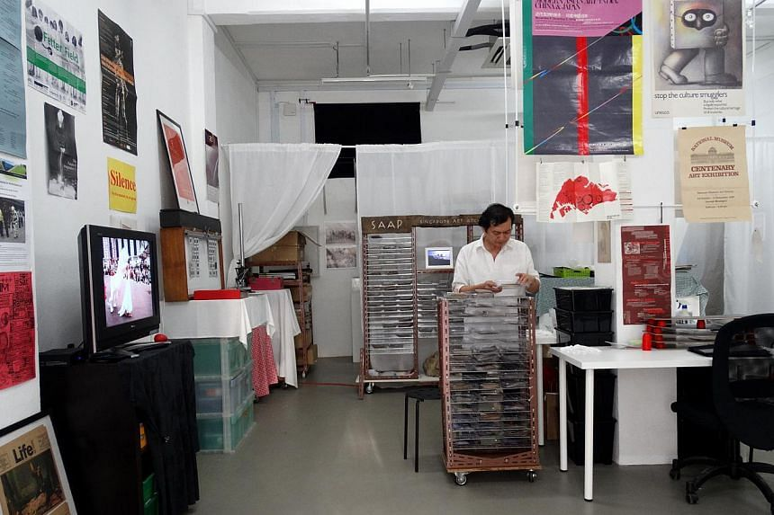 Artists-inresidence Chihiro Kabata and Yuuri Kabata at Instinc in January, and the Singapore Art Archive Project (above) by NTU CCA Singapore artist-in-residence Koh Nguang How. -- PHOTO: CCA AND SHONA FINDLAY