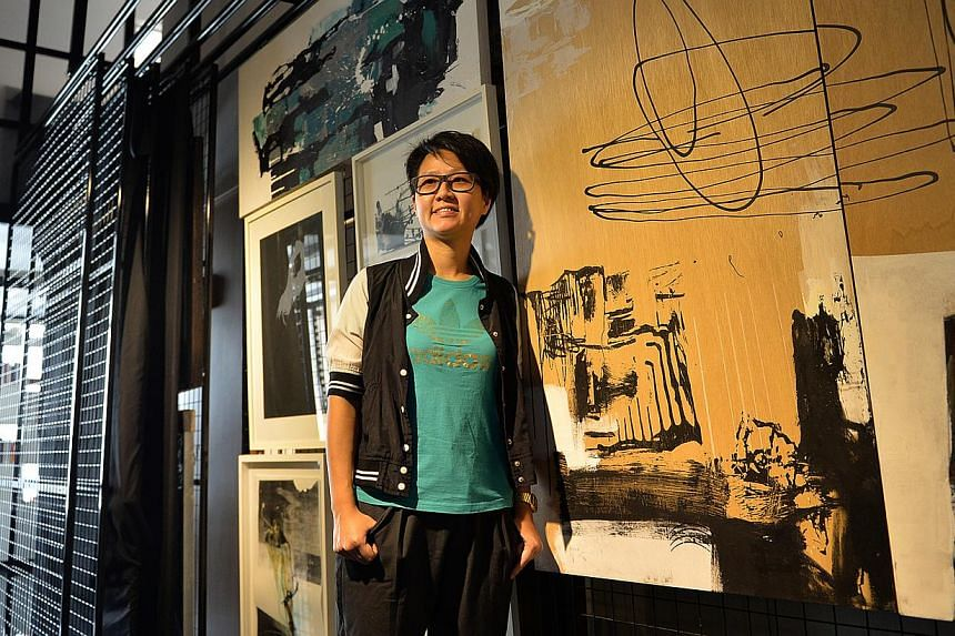 Korean artist Haegue Yang with her Spice Moons work created here at STPI, and Singapore artist Yeo Shih Yun (above), who owns the artist residency space for Instinc. -- PHOTO: JOYCE FANG