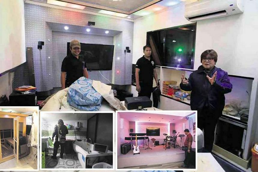 Philippine Justice Secretary Leila de Lima (main picture, right) conducting an investigation at the New Bilibid Prison in Muntinlupa City, and showing the air-conditioned rooms of powerful convicts. (Inset, from left) Convicted drug lord Peter Co's