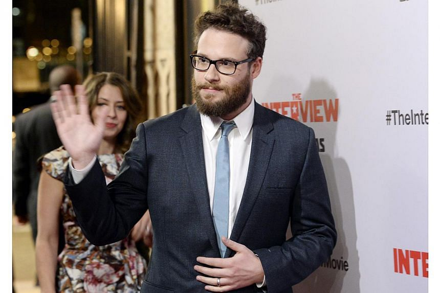 Cast member Seth Rogen poses during premiere of the film The Interview in Los Angeles, California on Dec 11, 2014. -- PHOTO: REUTERS