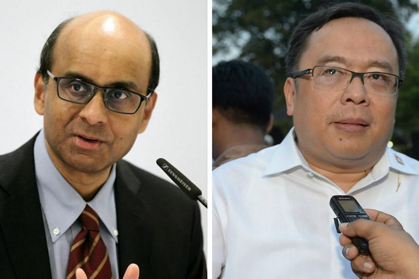 The commitment was highlighted during a meeting between Deputy Prime Minister and Finance Minister Tharman Shanmugaratnam (left) and Indonesia's Finance Minister Bambang Brodjonegoro on Monday.-- PHOTO: ST FILE/AFP