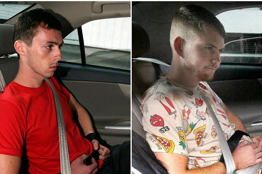 The case of the two German nationals, Andreas Von Knorre (left) and Elton Hinz, charged with breaking into the SMRT Bishan depot three times and vandalising a train last month is scheduled for another pre-trial conference on Jan 14. -- PHOTO: S
