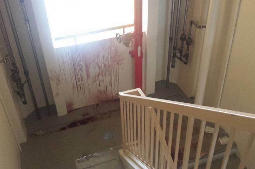 The blood trail, in Blk 505 Tampines Central 1, left by the fleeing suspect. -- ST PHOTO: AW CHENG WEI