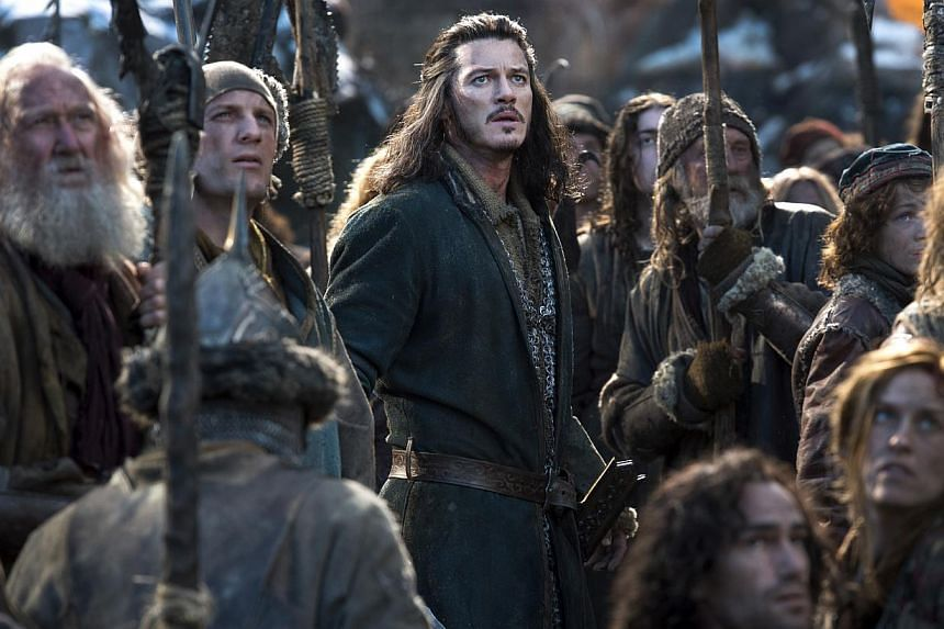 Actor Luke Evans (centre) plays Bard the Bowman who leads his people to defend themselves in battle.