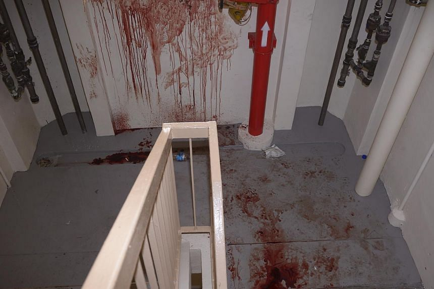 The blood trail, in Blk 505 Tampines Central 1, left by the fleeing suspect. -- ST PHOTO: MARK CHEONG
