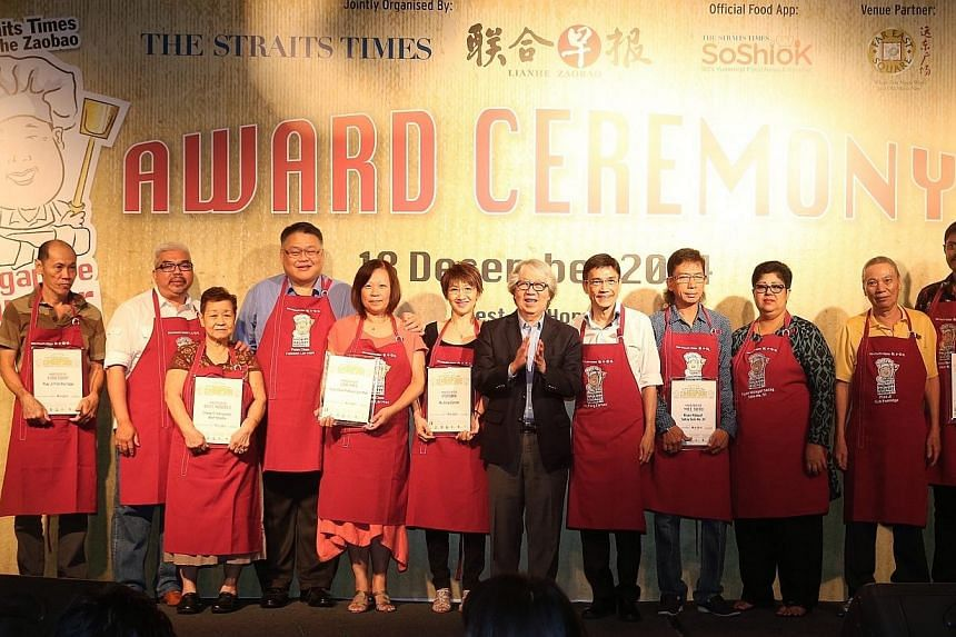 The winners of the various categories - Beef Noodle, Fish Soup, Popiah, Mee Soto, Indian Mee Goreng and Lor Mee - receive their certificates at the Singapore Hawker Masters awards at the annual awards ceremony organised by Straits Times and Zaobao he