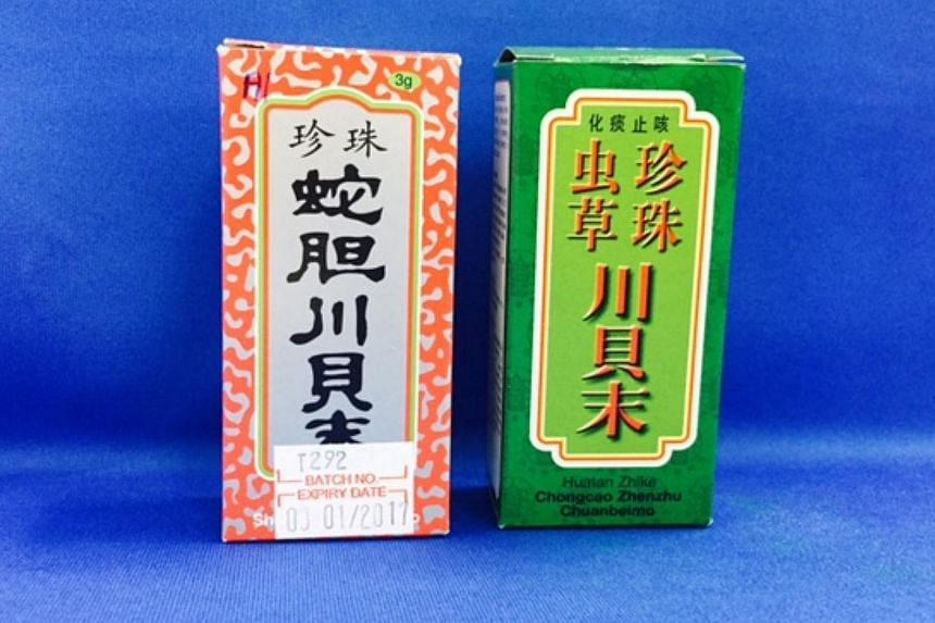 The sale of a batch of two Chinese medicines were stopped after they were found to contain levels of arsenic that exceeded permitted levels. -- PHOTO: HEALTH SCIENCES AUTHORITY