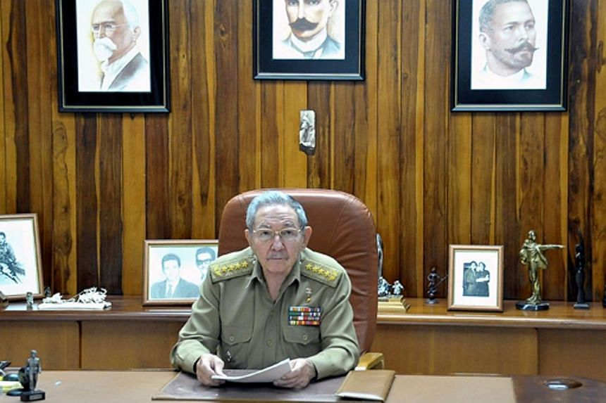 This picture released by Estudios Revolucion shows Cuban President Raul Castro addressing the nation on Dec 17, 2014, in Havana.The United States and Cuba moved to end five decades of Cold War hostility on Wednesday, Dec 17, 2014, agreeing to r