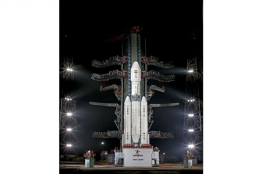 This handout photograph released by The Indian Space Research Organisation (ISRO) on Dec 18, 2014, shows the GSLV MK-III rocket as it is transported to a second launch pad at The Satish Dhawan Space Centre on Sriharikota Island, some 80kms north of C