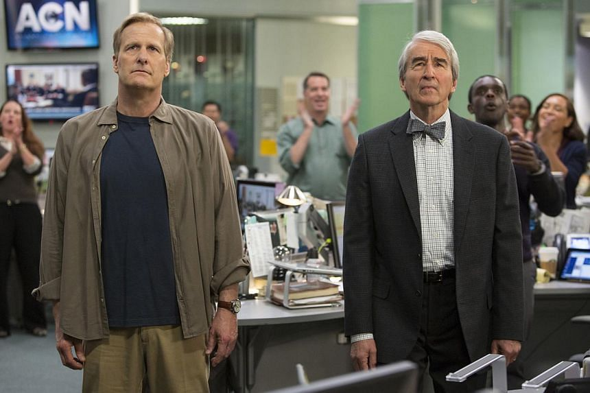 In The Newsroom, news anchor Will McAvoy (Jeff Daniels, left) and colleague Charlie Skinner (Sam Waterston, right) are pitted against an owner who is more concerned with ratings. -- PHOTO: HBO