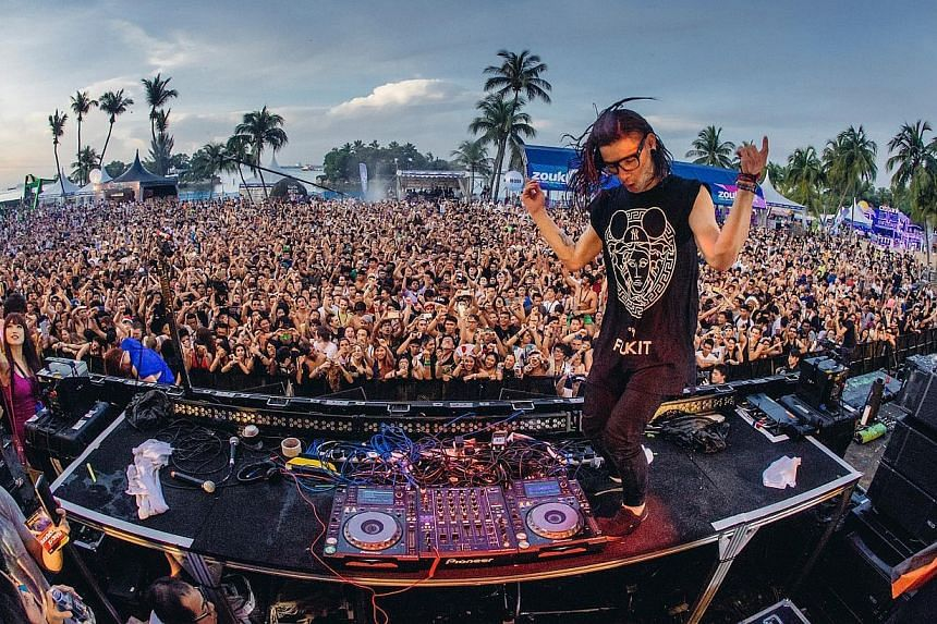 DJ Skrillex, who headlined ZoukOut last Saturday, recently released electronica hip-hop ditty Dirty Vibe, featuring rapping by K-pop megastars. -- PHOTO: ZOUK MANAGEMENT