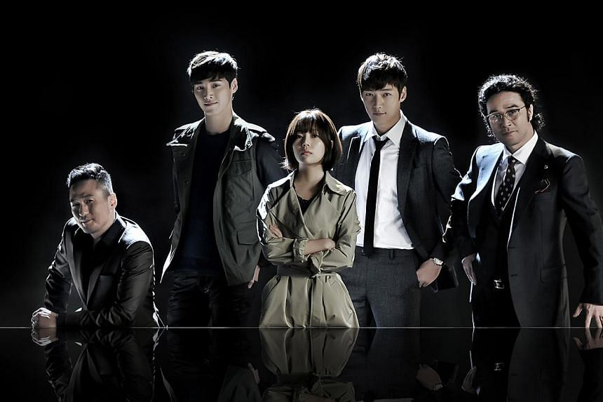 Bachelor Choi Jin Hyuk plays the lead in drama Pride And Prejudice (fourth from left) and with Song Ji Hyo in Emergency Couple. --PHOTO: OH!K