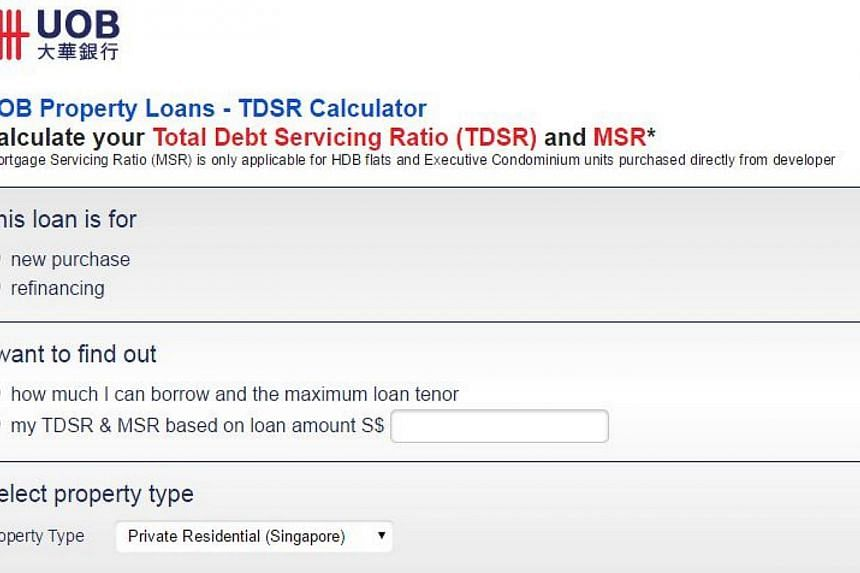 United Overseas Bank (UOB) launched on Thursday an online calculator to help buyers work out how big a property loan they can take.-- PHOTO: SCREENGRAB FROM UOB.COM.SG