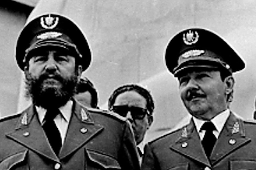 A Feb 1, 1979, file photo of then Cuban President Fidel Castro (left) and his brother, Mr Raul Castro, at the 20th anniversary of the Triumph of the Revolution at Revolution Square in Havana. -- PHOTO: REUTERS