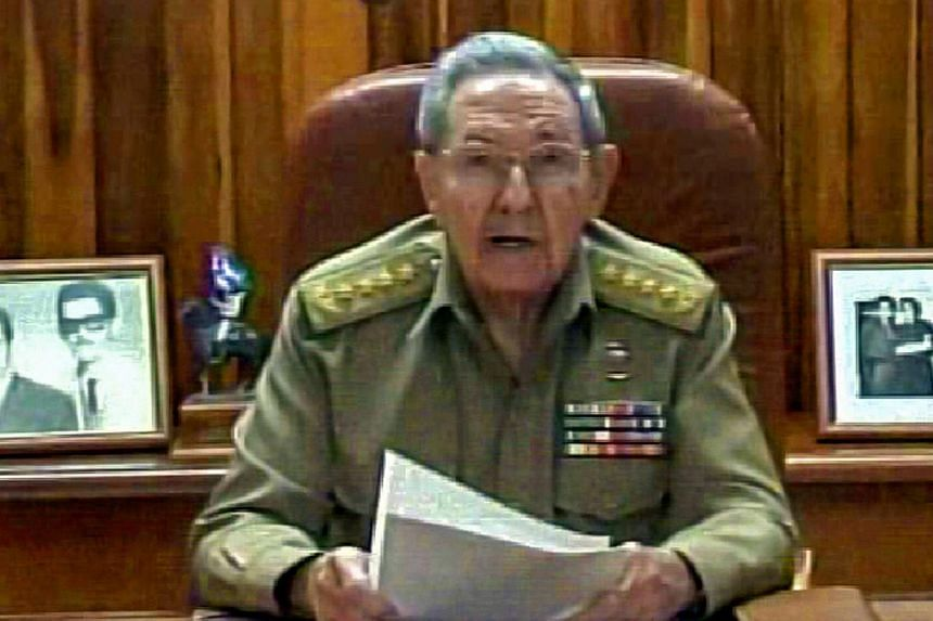 A screenshot from Cuban TV showing President Raul Castro addressing the country on Dec 17, 2014 in Havana. Castro said that Cuba had agreed to reestablish diplomatic ties with Cold War enemy the United States after a prisoner swap paved the way to a