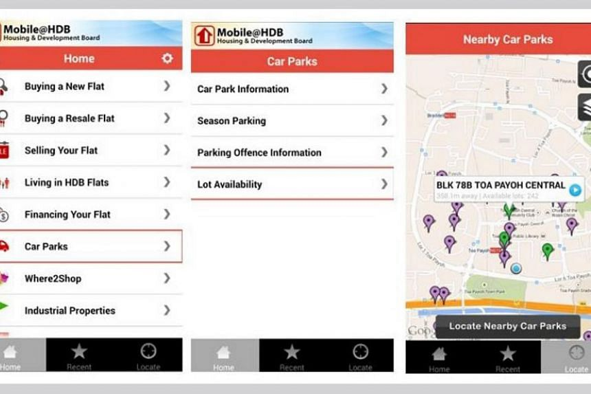 Since July, the Mobile@HDB smartphone application has offered real-time information about available short-term lots in HDB carparks with the Electronic Parking System. -- PHOTO: HOUSING AND DEVELOPMENT BOARD