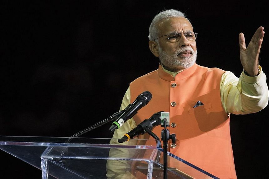 India's Prime Minister Narendra Modi speaks at Madison Square Garden in New York, during his visit to the United States on Sept 28, 2014. -- PHOTO: REUTERS