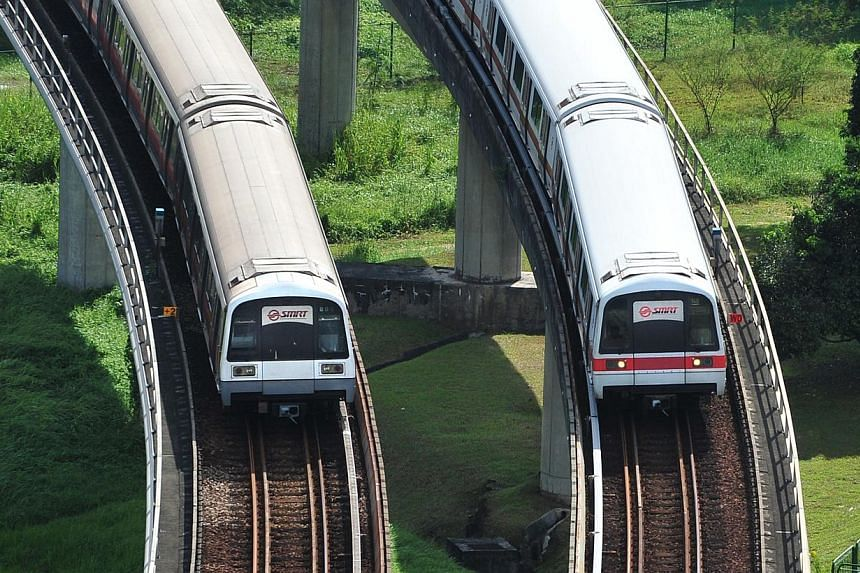 Public transport provider SMRT will be extending its train services and selected bus services on Dec 24, Christmas Eve. SMRT runs the North-South, East-West and Circle Lines of Singapore's MRT network, and the Bukit Panjang LRT service. -- PHOTO: ST