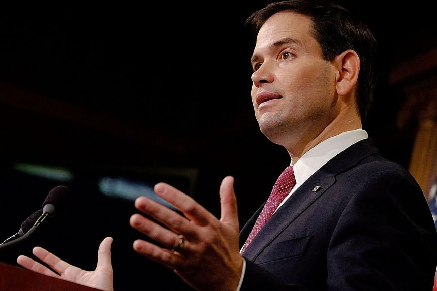 Senator Marco Rubio reacts to US President Barack Obama's announcement about revising policies on US-Cuba relations on Dec 17, 2014 in Washington, DC.Some Republican and Democratic lawmakers expressed outrage Wednesday over Washington's histori