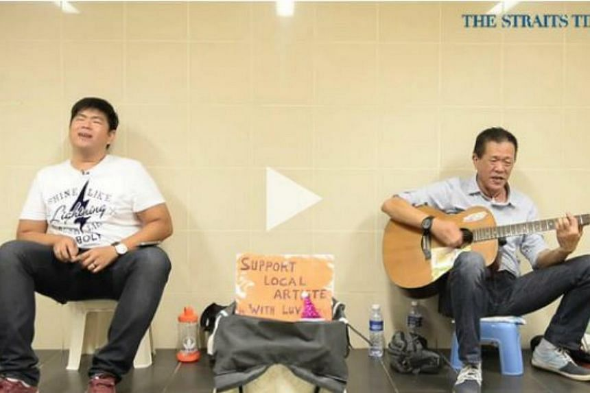 From the nightclubs to the street, busker Peter Lim, 60, has been performing along Orchard Road since the 70s. His solo street act became a duo recently when his son Bryan quit his job to busk with him.