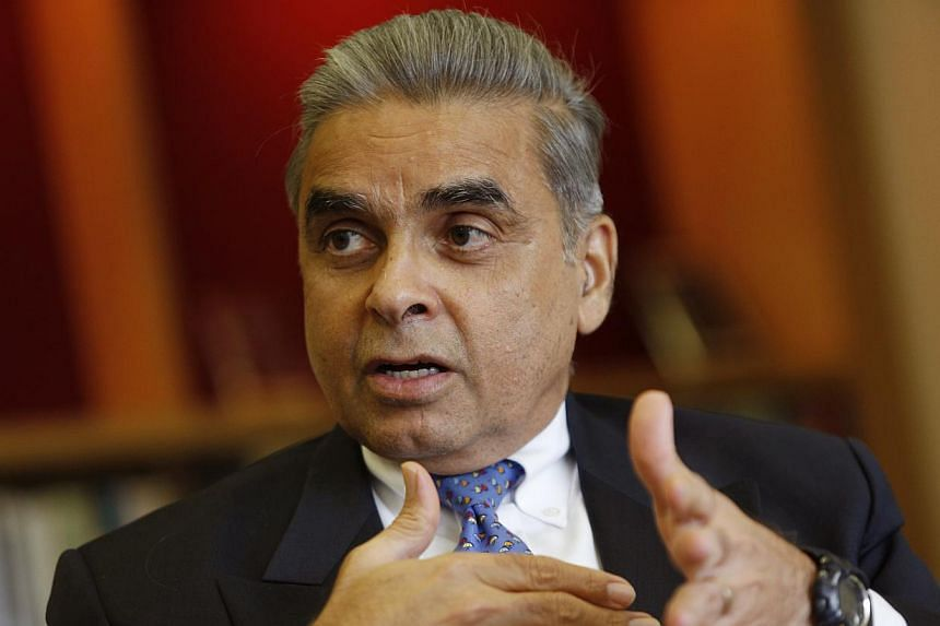 Professor Mahbubani, who heads the Lee Kuan Yew School of Public Policy, has been hailed by British current affairs magazine Prospect as one of this year's top 50 world thinkers.-- PHOTO: ST FILE