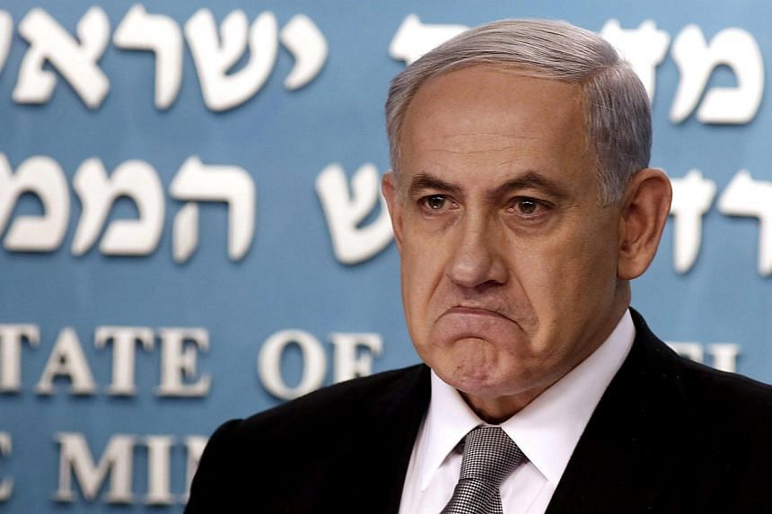 "Israel's Prime Minister Benjamin Netanyahu is pictured during a news conference at his office in Jerusalem Dec 2, 2014. Netanyahu said Thursday Israel would never accept the ""unilateral"" recognition of a Palestinian state, after a draft resoluti"