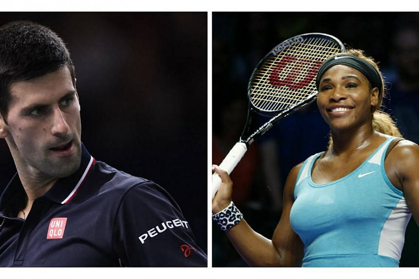 Novak Djokovic (left) and Serena Williams were named as men's and women's World Champions for 2014 on Thursday by the International Tennis Federation. -- PHOTOS: AFP, REUTERS