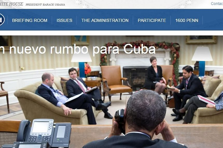 A screenshot from the new webpage, which can be found at http://www.whitehouse.gov/issues/foreign-policy/cuba-politica -- PHOTO: WHITE HOUSE