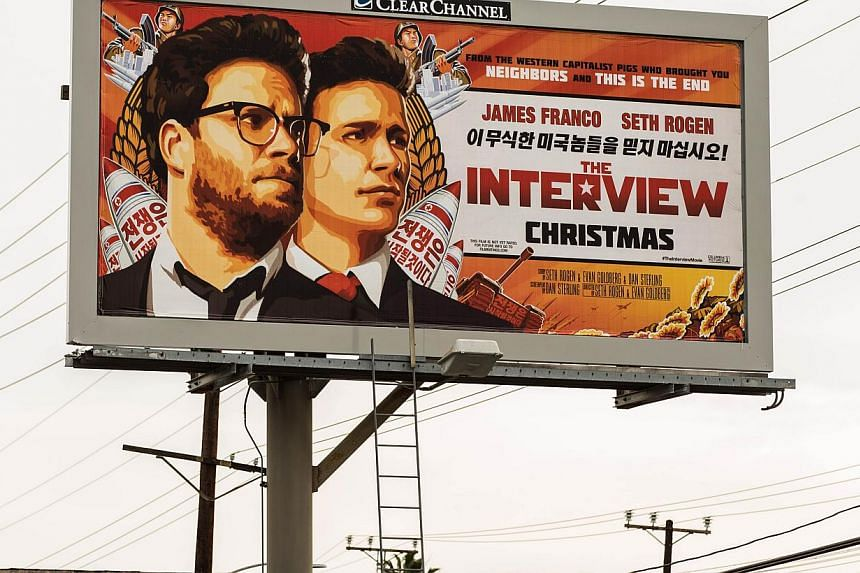 A billboard for the film The Interview is displayed in Venice, California on Dec 19, 2014. -- PHOTO: AFP