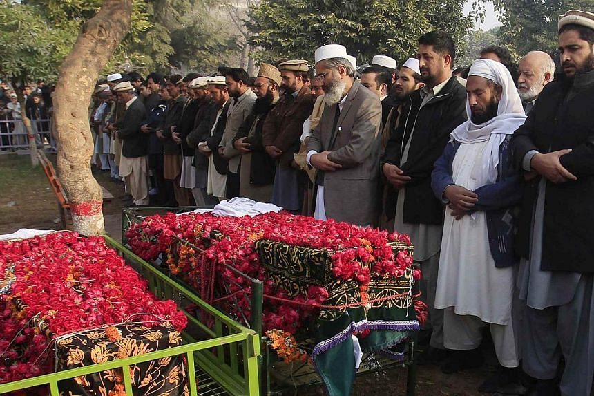 Funeral prayers on Wednesday for two students killed in the Taleban attack on the Army Public School in Peshawar. The brutal attack killed more than 140 people - 132 of whom were children.