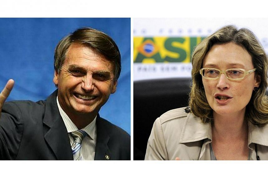 """Opposition congressman Jair Bolsonaro (left) told Maria do Rosario Nunes (right) in Congress he would not rape her """"because she was not worth it"""",triggering outrage and a national debate about rape and sexism in Brazil. -- PHOTOS: FACEBOO"""