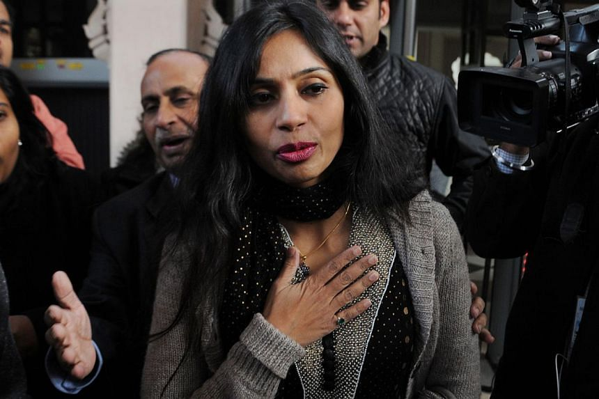 File picture of Indian diplomat Devyani Khobragade (C), at the centre of a bitter row with the United States, who has been stripped of her duties over unauthorised statements to media, a government source and reports said on December 20, 2014. --PHOT
