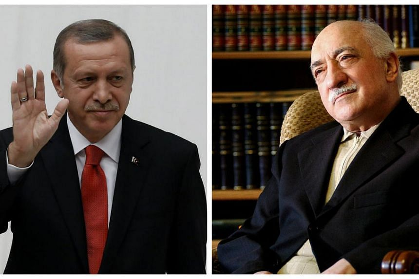 Turkish President Recep Tayyip Erdogan (left) said on Saturday he is closely following an inquiry into US-based Islamic preacher Fethullah Gulen (right) and media outlets close to him and dismissed criticism that the case is politically motivated. --