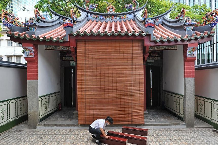 The entrance gate of the Singapore Yu Huang Gong as seen from within its compound.-- PHOTO: LIM YAOHUI FOR THE STRAITS TIMES