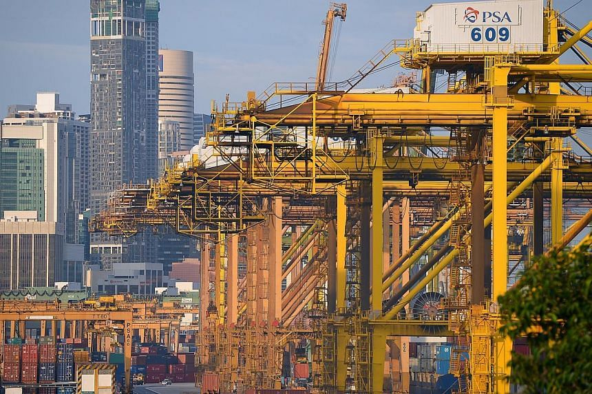 Singapore port operator PSA will tie up with its Jakarta counterpart and two Japanese firms to build and operate a container port in Jakarta. -- PHOTO: ST FILE