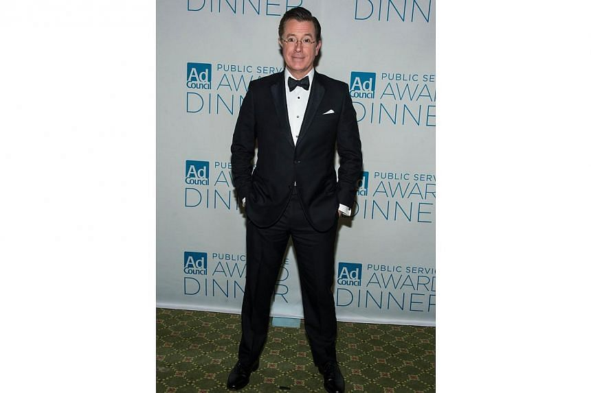 Political Satirist Stephen Colbert attends Ad Council's 61st Annual Public Service Award Dinner at The Waldorf Astoria on Nov 19, 2014 in New York City. -- PHOTO: AFP