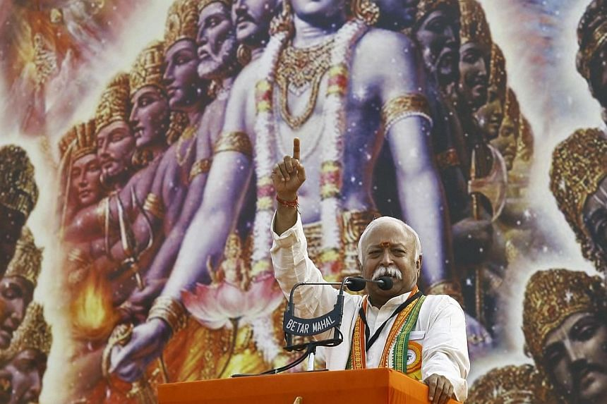 Mohan Bhagwat, chief of India's Hindu nationalist organisation Rashtriya Swayamsevak Sangh (RSS), addresses a rally in Kolkata on Dec 20, 2014.Mr Bhagwat vowed to press ahead with a campaign to convert Muslims and Christians to Hinduism, stokin