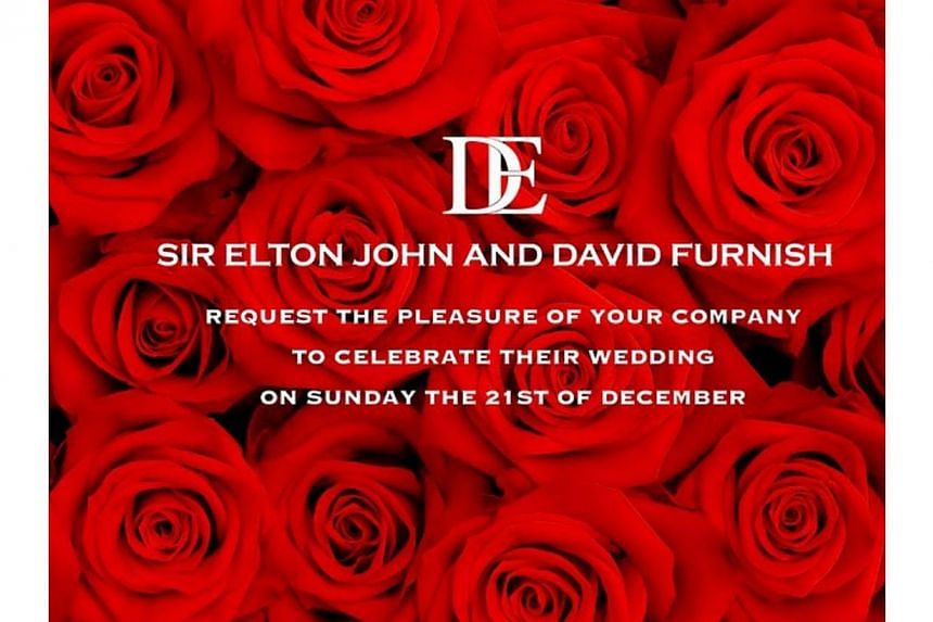 The wedding invite. Elton John and David Furnish got married on Sunday, Dec 21, 2014. Elton provided 'live' coverage of the day's events on his Instagram. -- PHOTO: ELTON JOHN/INSTAGRAM