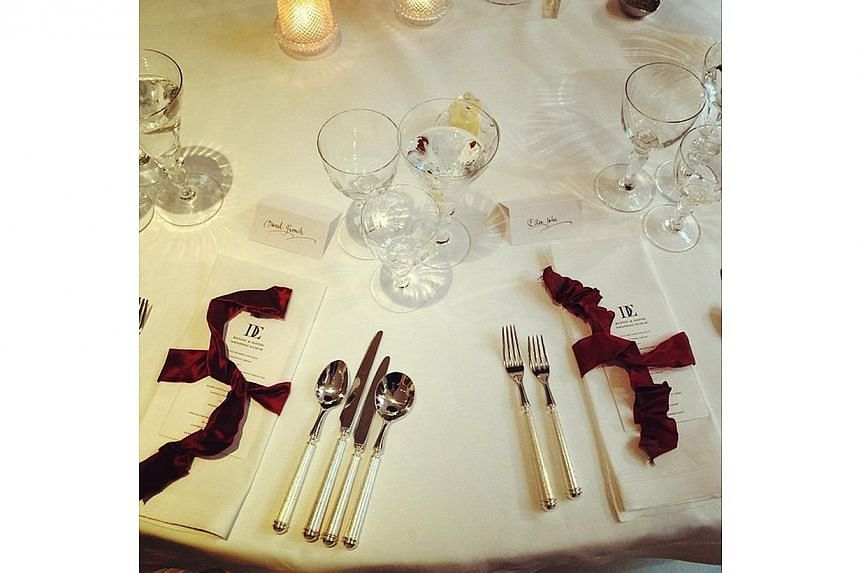 """""""And the tables are set for a delicious lunch"""". Elton John and David Furnish got married on Sunday, Dec 21, 2014. Elton provided 'live' coverage of the day's events on his Instagram. -- PHOTO: ELTON JOHN/INSTAGRAM"""