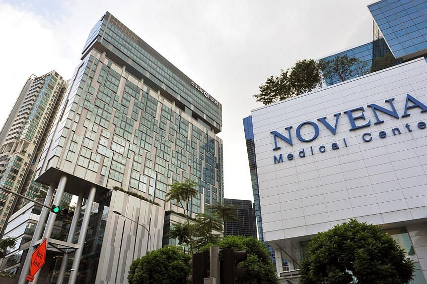 The Novena Medical Centre (right) and Oasia Hotel (left) in the Novena area of Singapore. -- ST PHOTO: ALPHONSUS CHERN