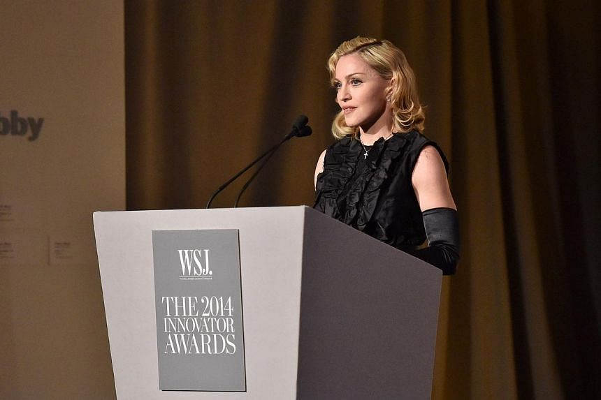 """Madonna speaks at WSJ. Magazine's """"Innovator Of The Year"""" Awards at Museum of Modern Art on Nov 5, 2014 in New York City.Madonna and Sony Pictures both were separately torpedoed by major hacks this month, in what the pop icon called """"crazy time"""