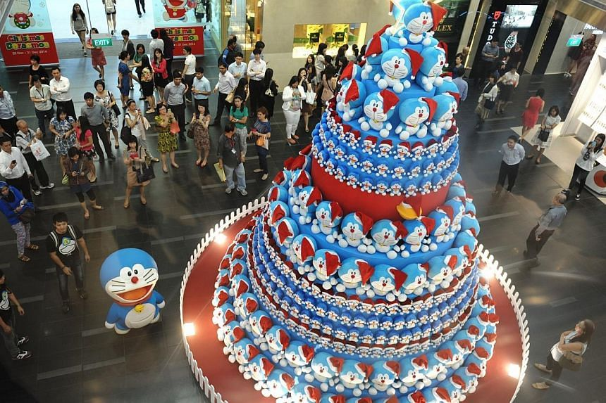 TheDoraemon Tree at One Raffles Place has been chosen by Straits Times readers as their favourite Christmas tree. -- PHOTO: OUB CENTRE LIMITED