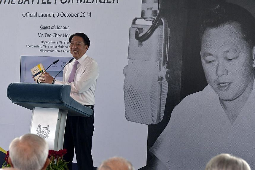 Deputy Prime Minister Teo Chee Hean speaking in October at the launch of the reprint of Battle For Merger, which features 12 radio talks Mr Lee Kuan Yew gave in 1961 to convince Singaporeans of the need for merger. MDA banned a film with interviews o
