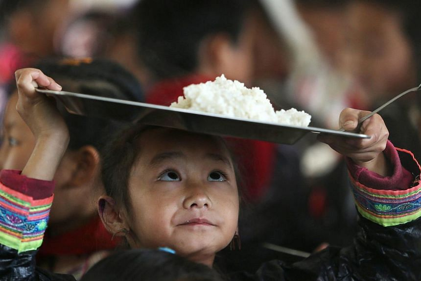An ethnic Miao minority child wearing traditional costume carries a plate of rice during lunchtime at the village of Basha in Congjiang county, Guizhou province on Nov 27, 2014. -- PHOTO: REUTERS