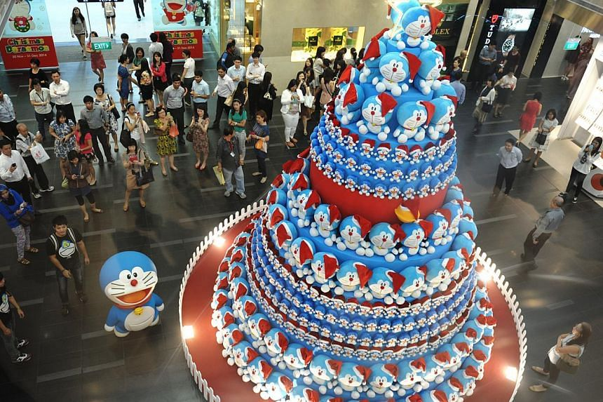 The Doraemon Tree at One Raffles Place.-- PHOTO: OUB CENTRE LIMITED