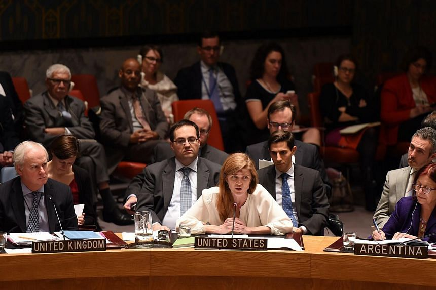 US envoy Samantha Power(centre) said a UN commission of inquiry that compiled testimonies from North Korean exiles exposed the Pyongyang regime's brutality. -- PHOTO: AFP